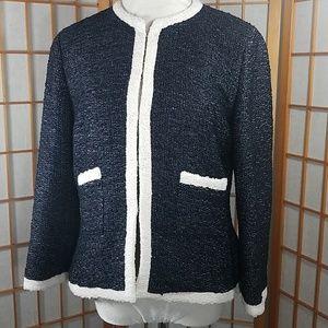 CH Carolina Herrera navy and cream knit blazer